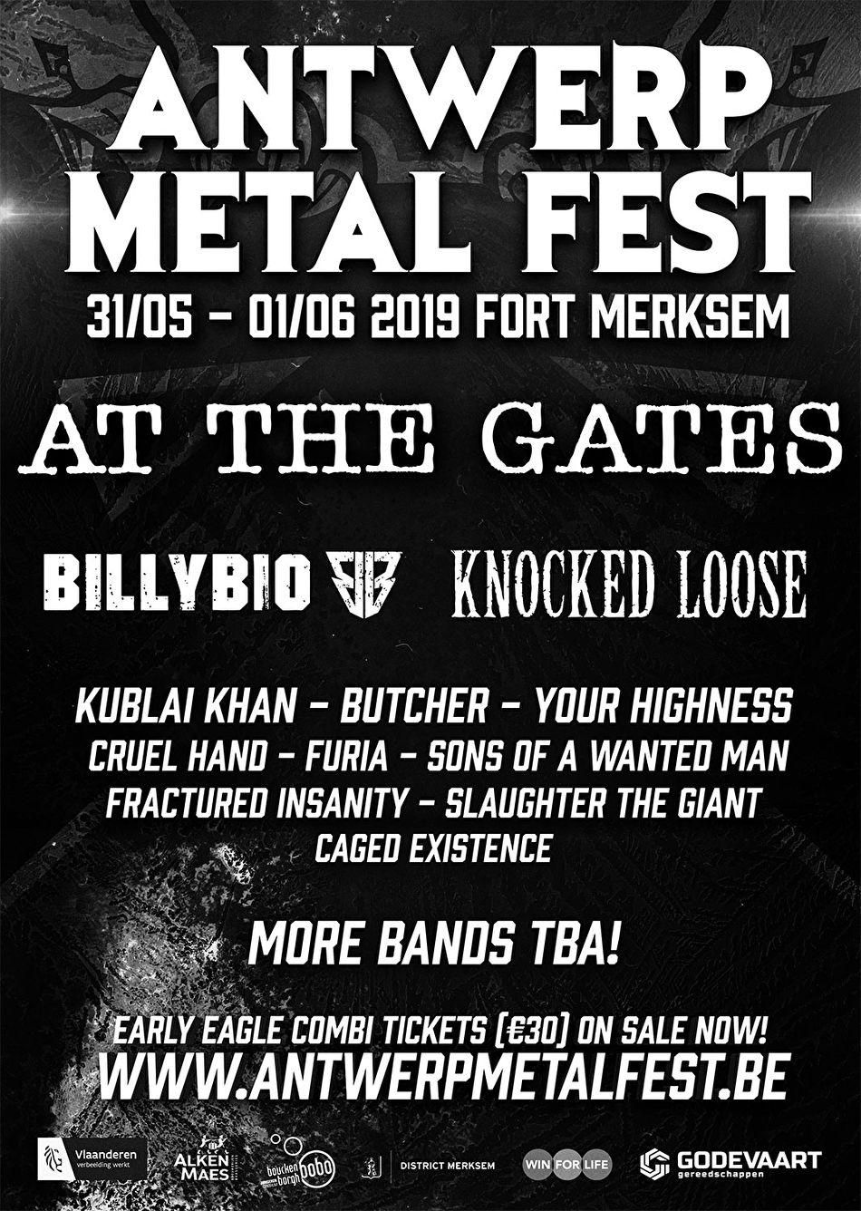 Voorlopige affiche Antwerp Metal Fest 2019