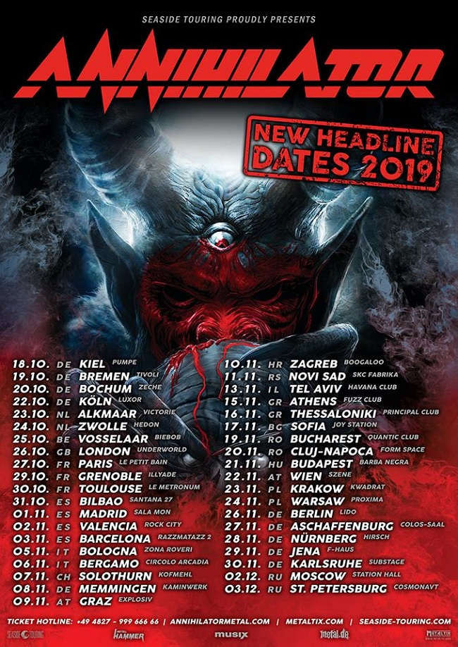 Annihilator tournee in 2019